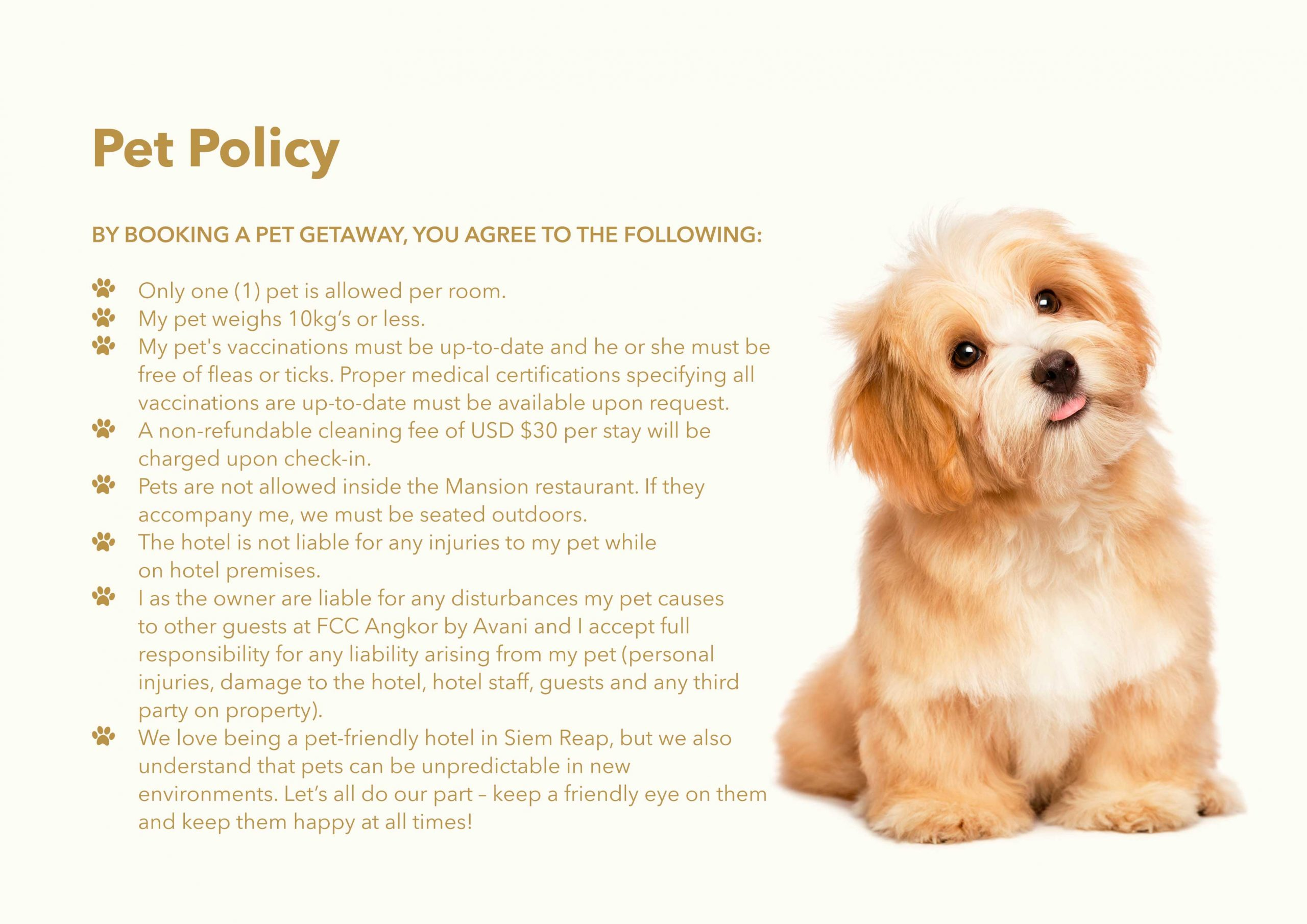 Pet Policy at FCC Angkor - Pet Friendly Hotel in Siem Reap